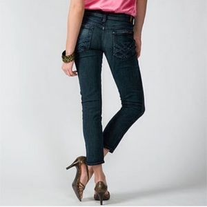 7FAM Edie Flood Ankle Crop Skinny Dark Wash Jeans
